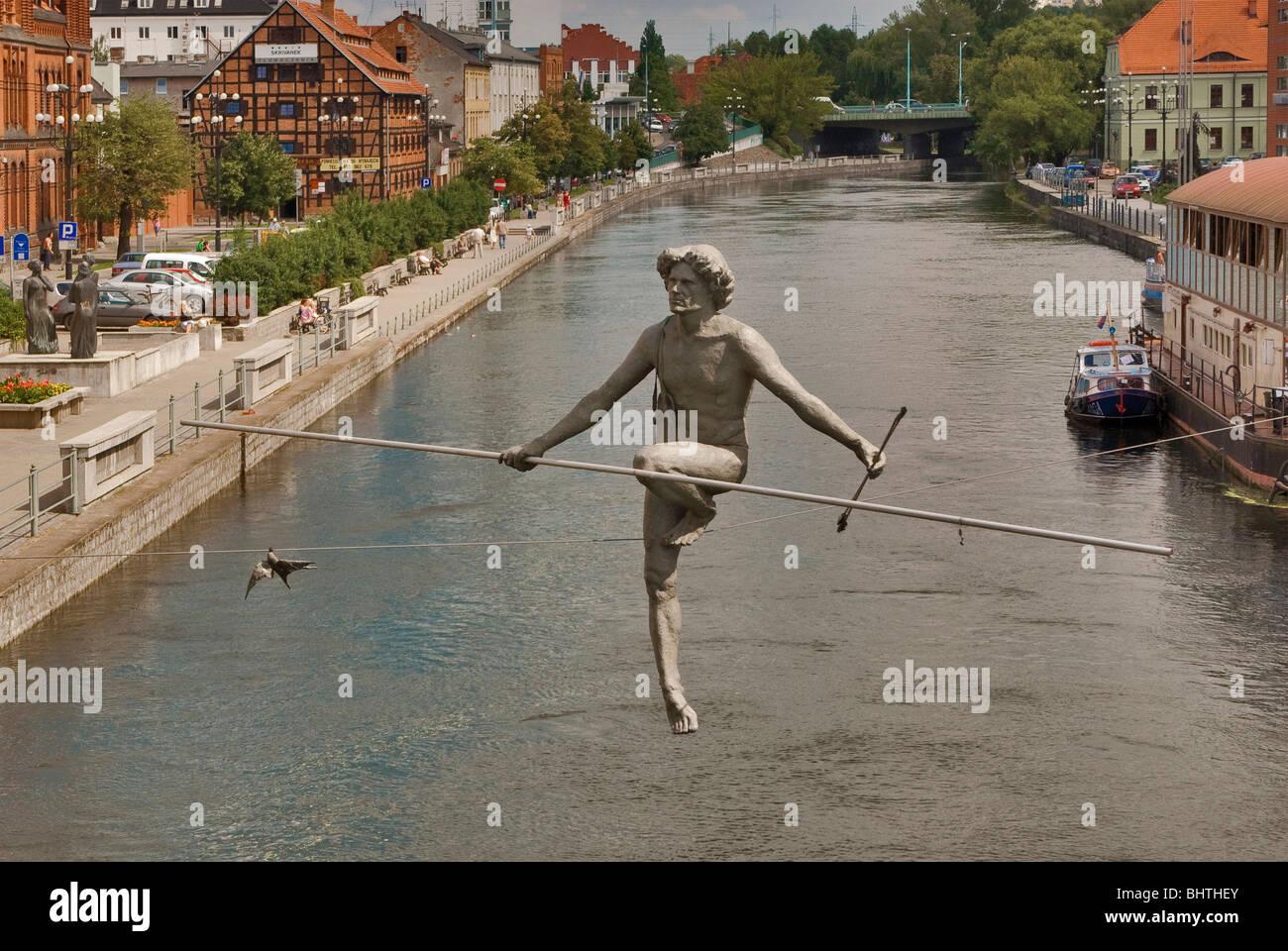 Crossing the River sculpture over Brda river at Bydgoszcz, Kujawsko-Pomorskie, Poland Stock Photo