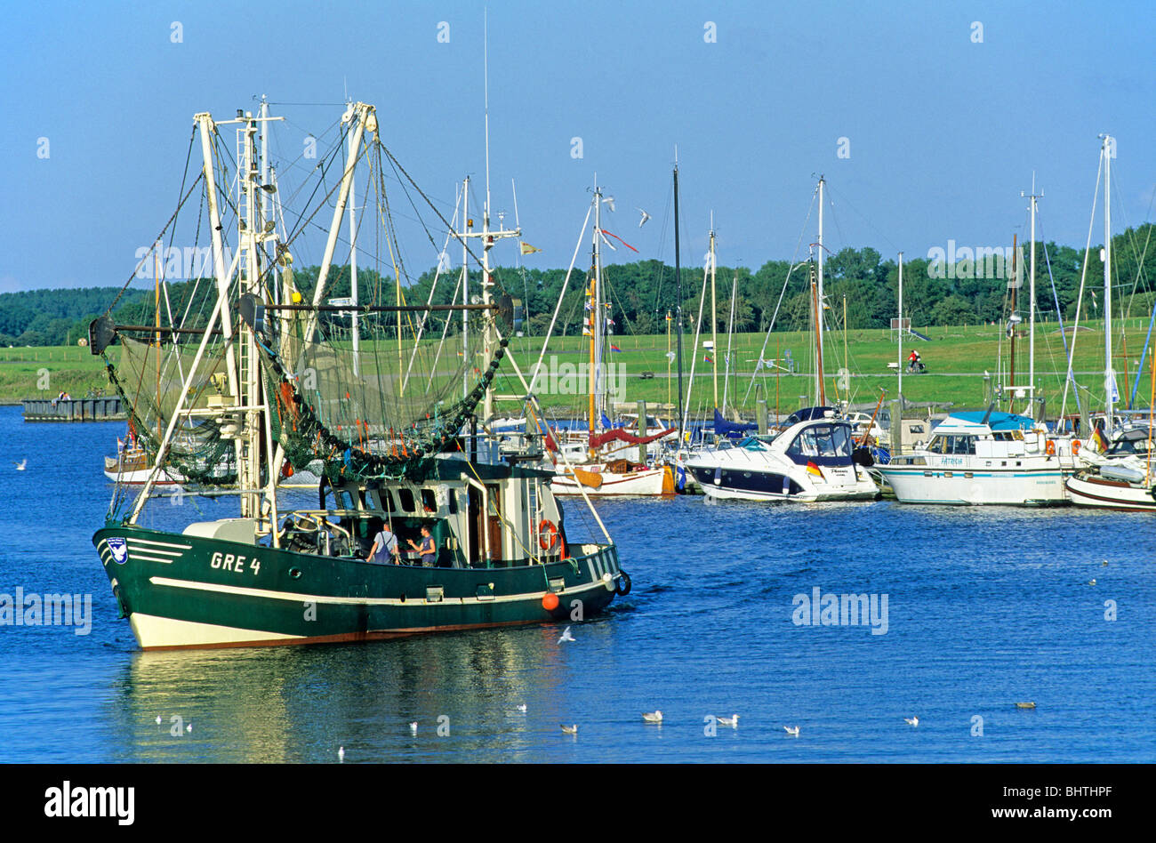 fishing smack at the harbour of Greetsiel, East Friesland, North Sea Coast, Lower Saxony, Germany - Stock Image