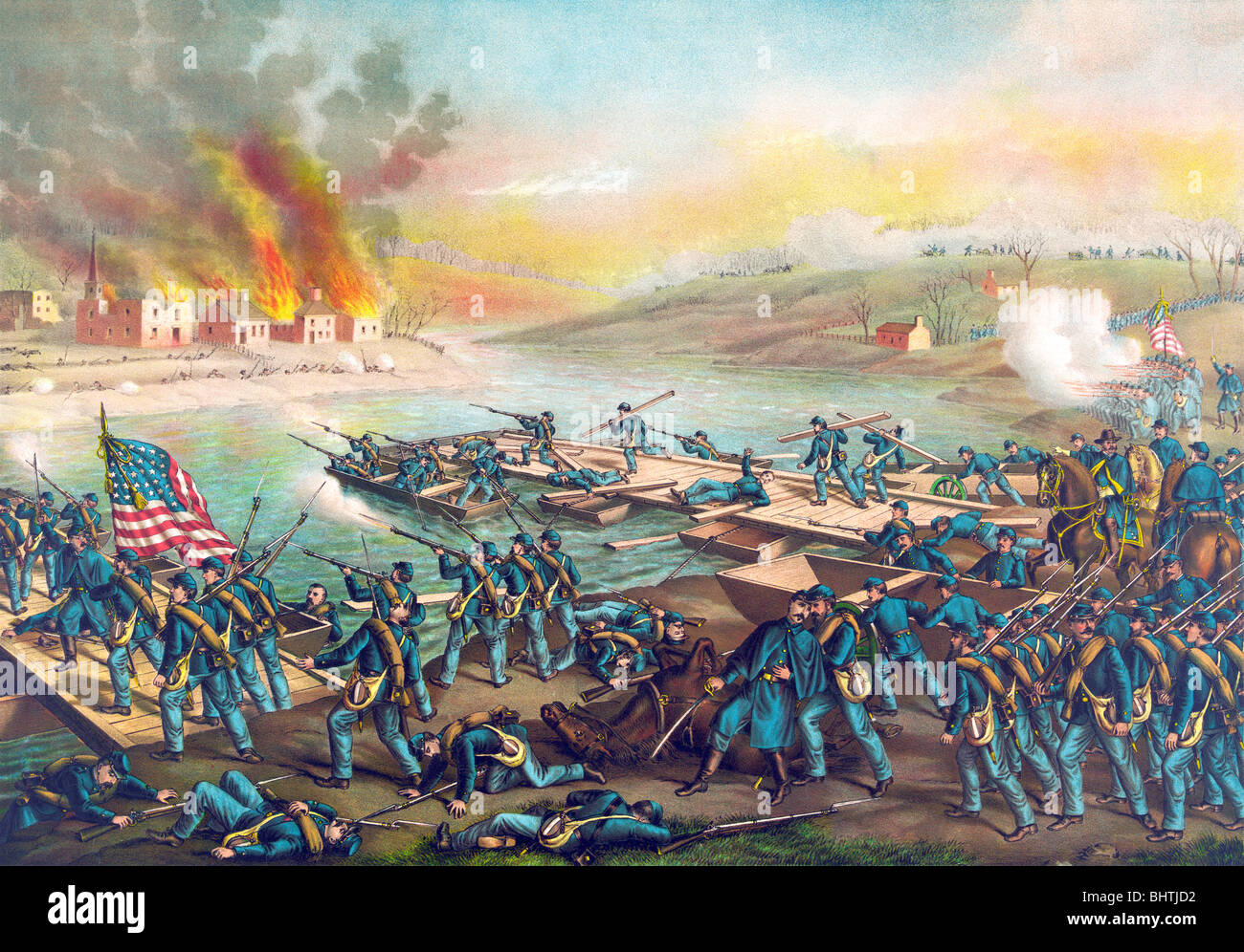 Lithograph colour print circa 1888 depicting the Battle of Fredericksburg during the American Civil War. - Stock Image