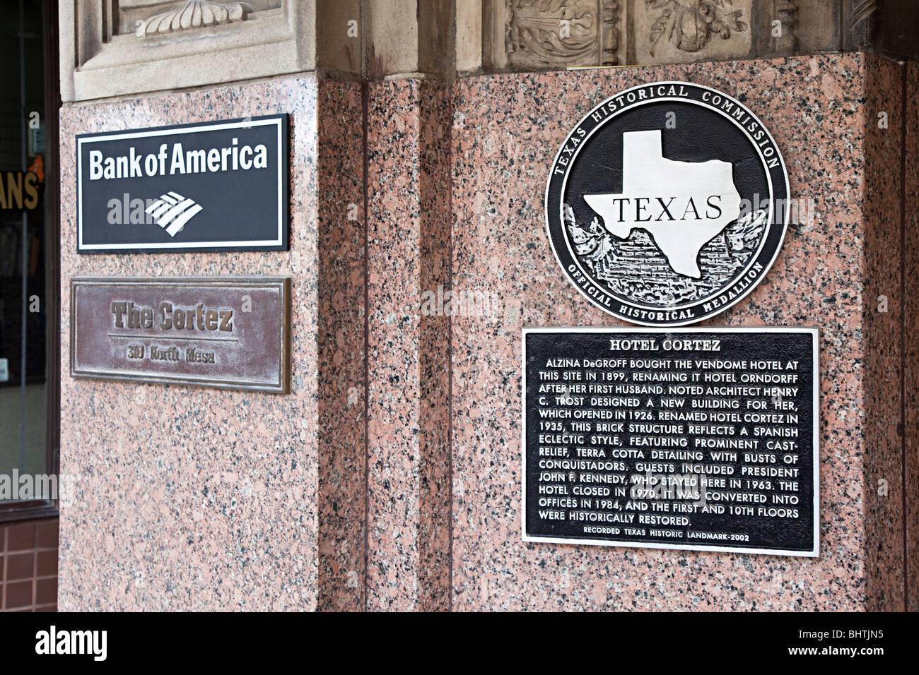 Hotel Cortez Texas Historical Commisson medallion on building wall El Paso Texas USA - Stock Image