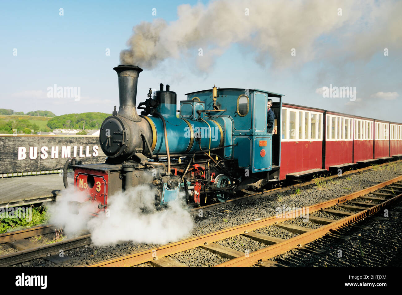 Giants Causeway and Bushmills Railway narrow gauge steam train engine at the Bushmills platform, County Antrim, - Stock Image