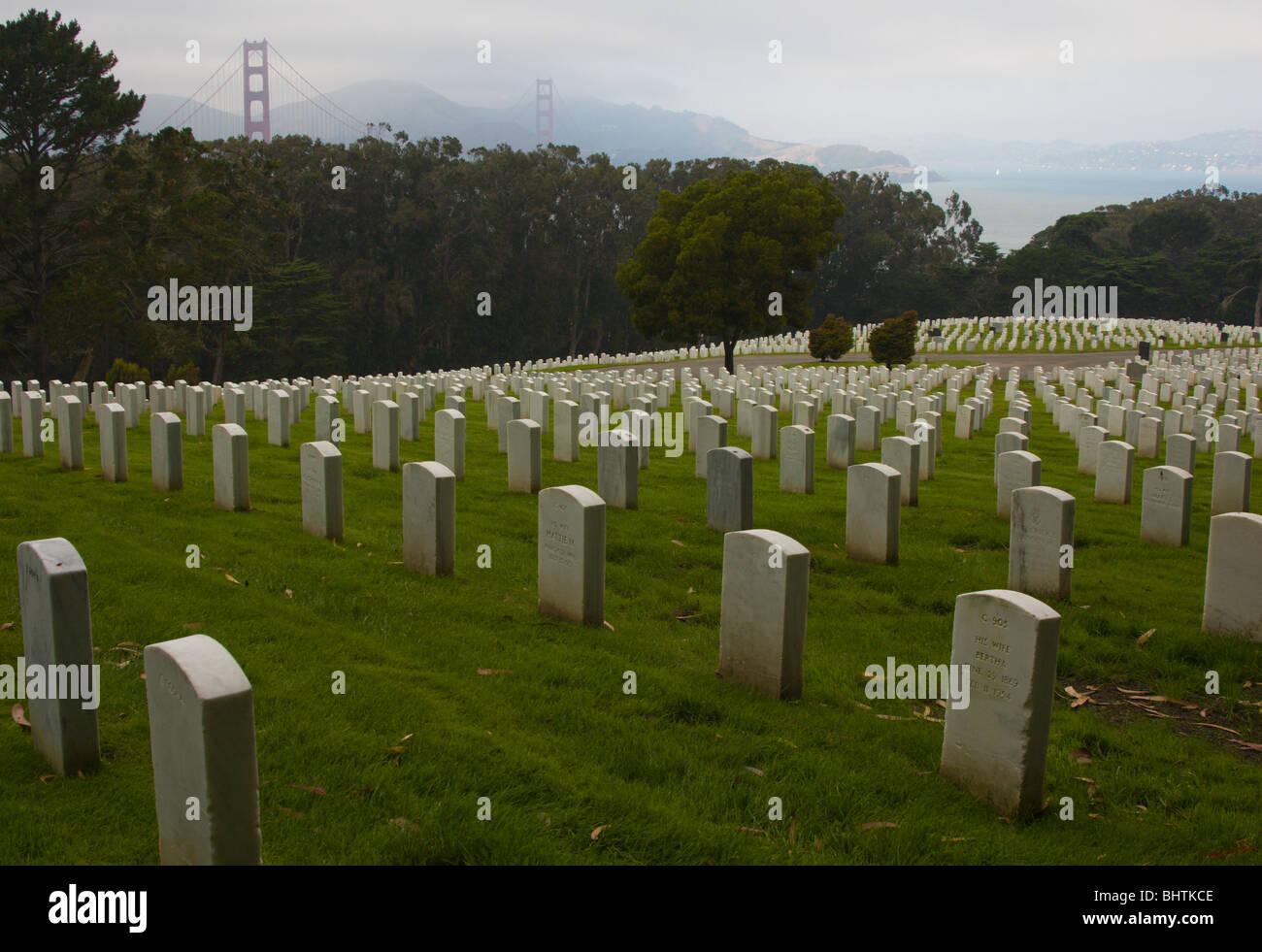 Graves in San Francisco National Cemetery at the Presidio, San Francisco Stock Photo