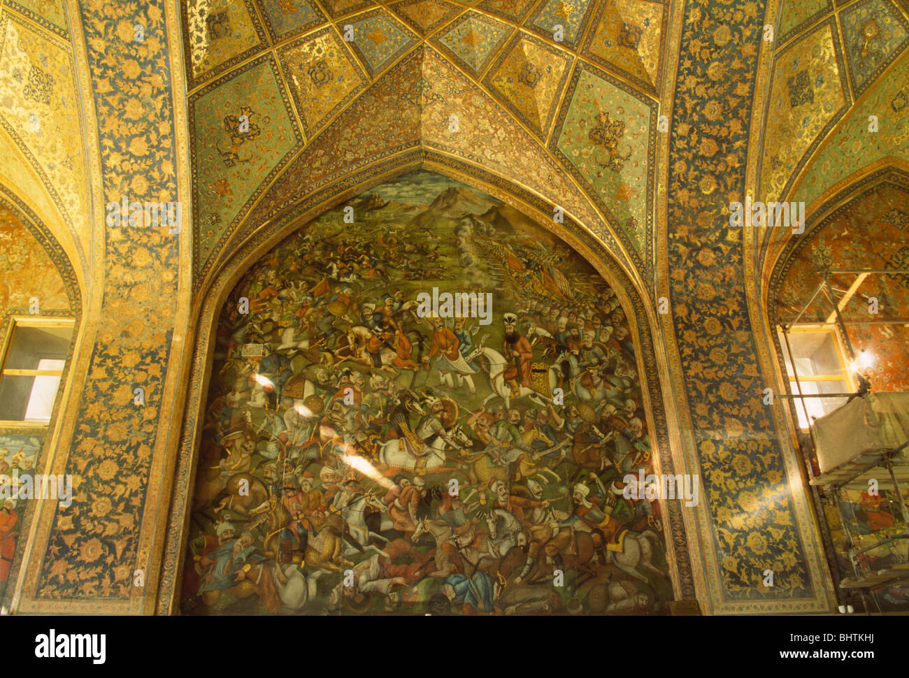 Mural and decorative tiles inside Chehel Sotun Museum, Esfahan, Iran ...