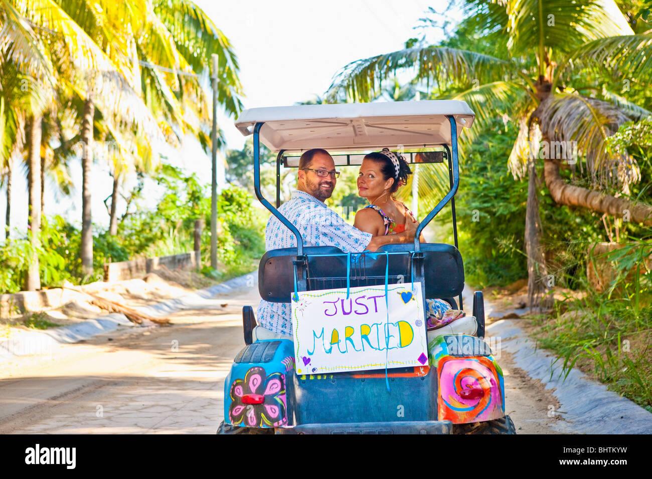 couple on honeymoon in mexico - Stock Image