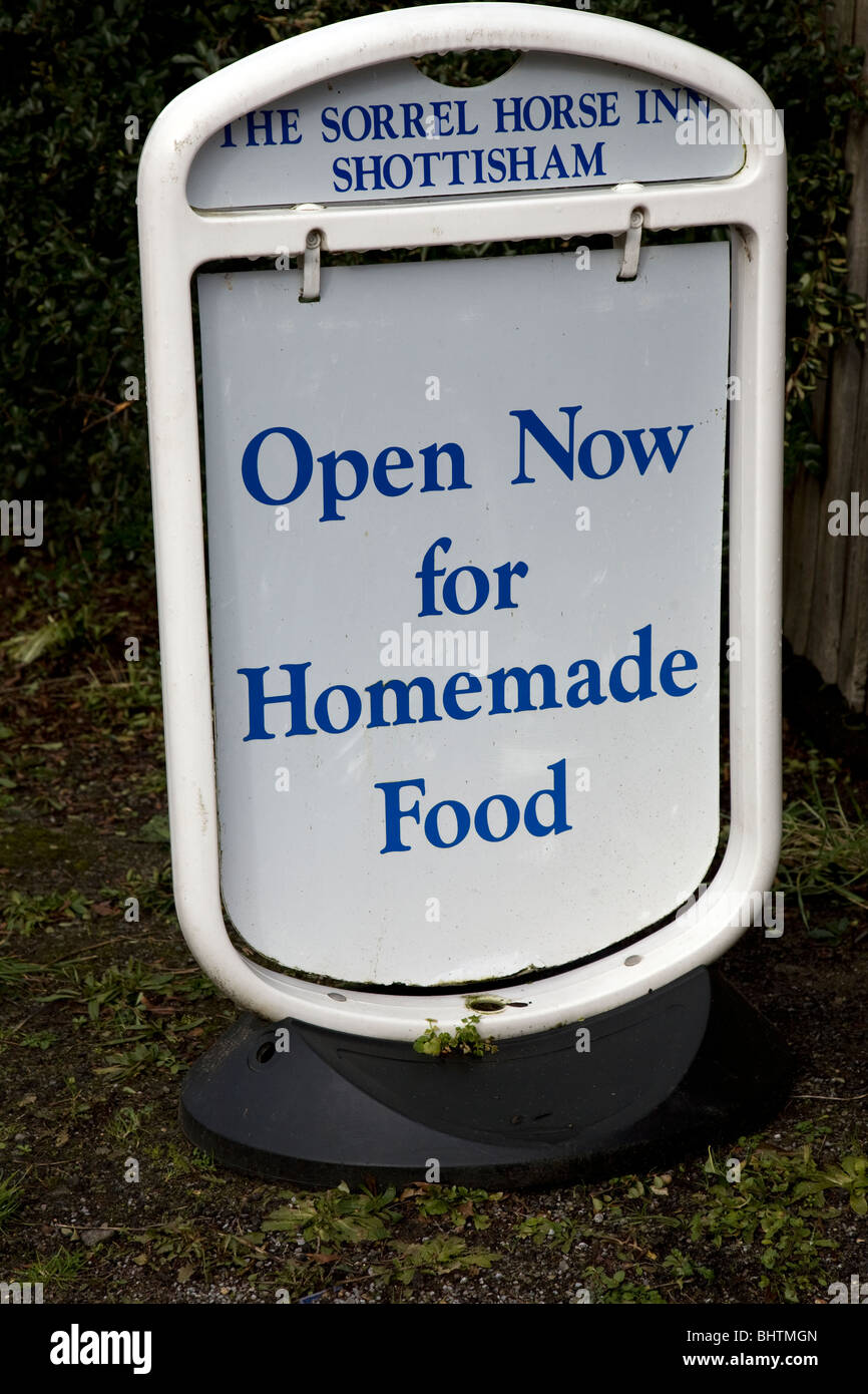 Open now for Homemade Food sign The Sorrel Horse pub Shottisham Suffolk - Stock Image