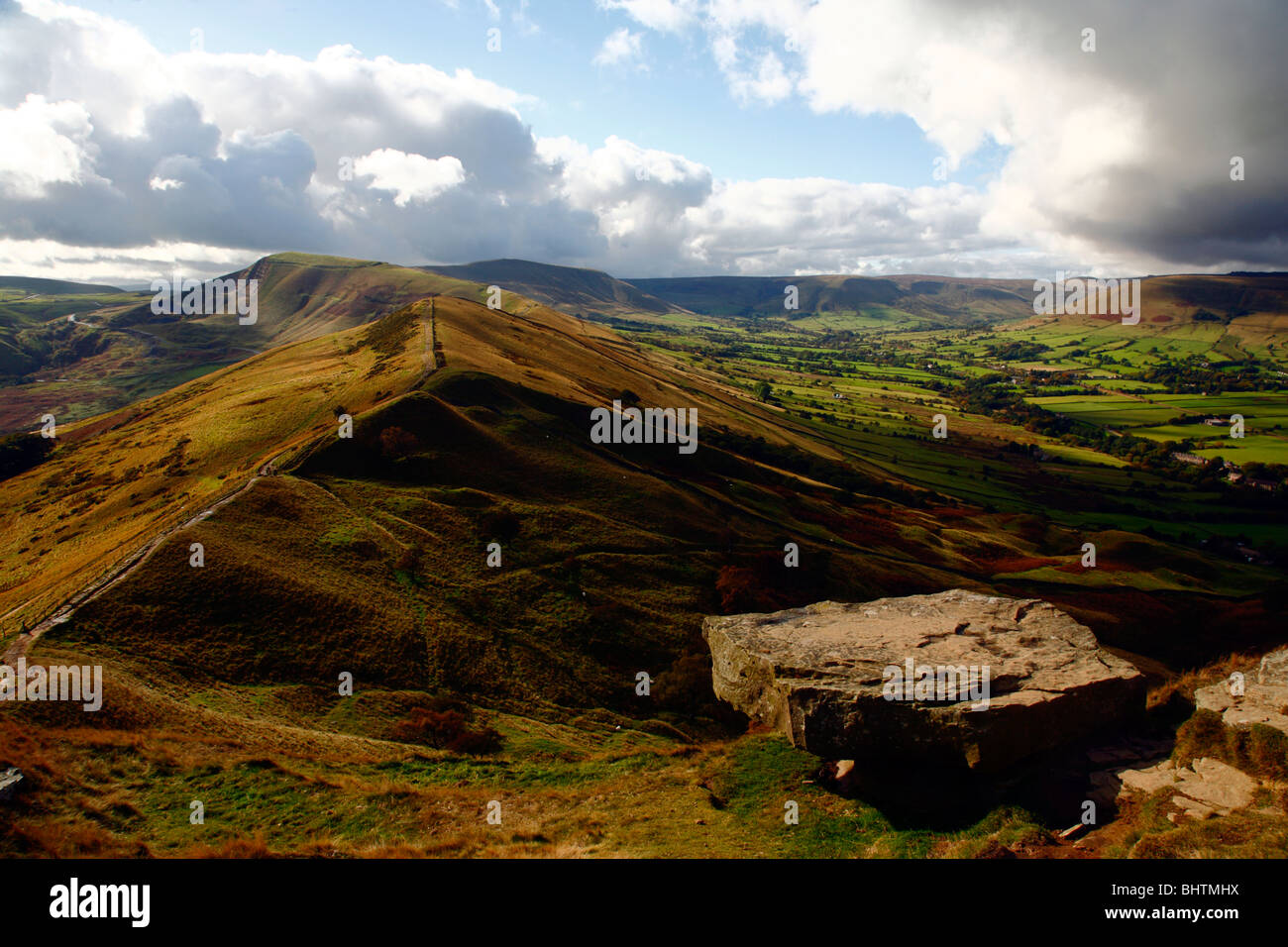 Hollins Cross, Mam Tor and Edale from Backtor,Peak District National Park,Derbyshire,England,UK. - Stock Image