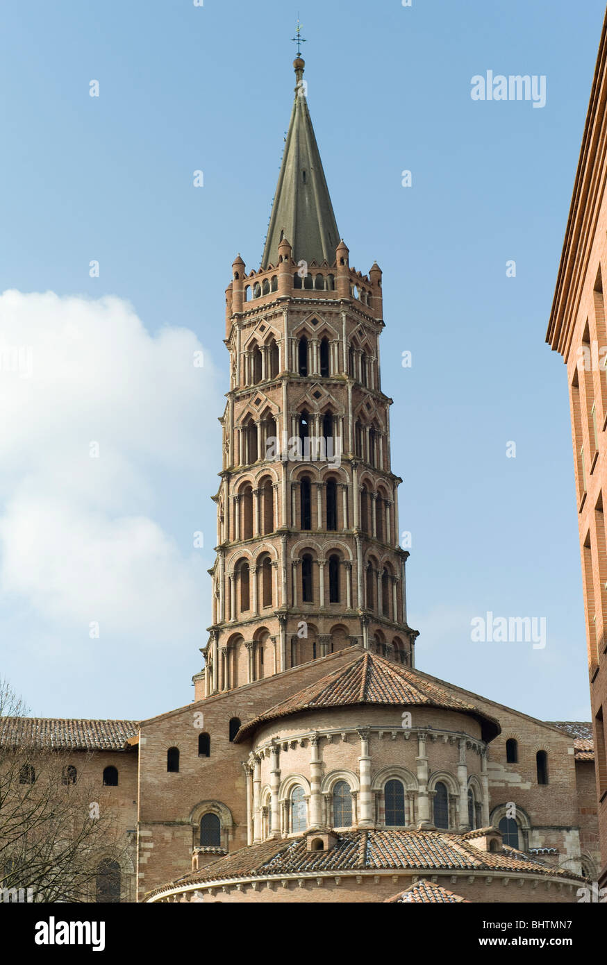 The tower of the cathedral of St Sernin, Toulouse, Haute Garonne,  Occitanie, France - Stock Image