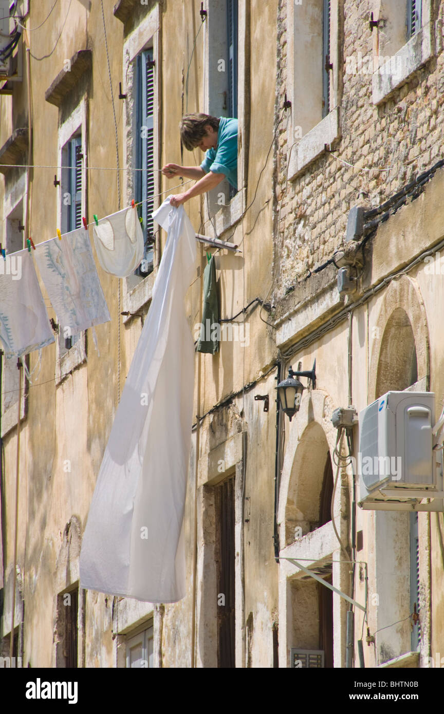 Washing Lines Strung From Local Apartments In Corfu Old Town On The Greek  Island Of Corfu Greece GR