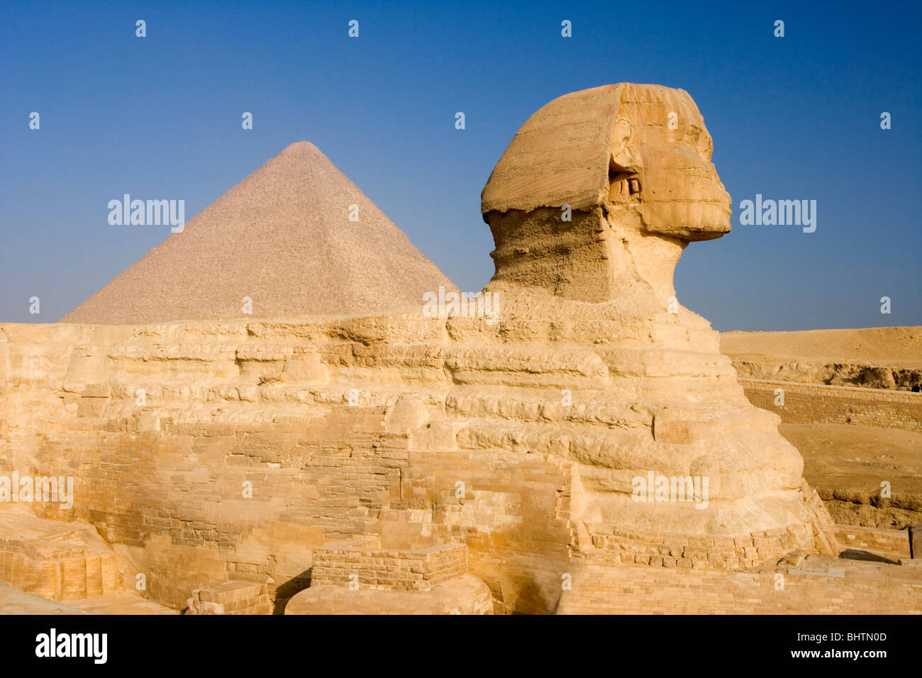 The Great Sphinx and Pyramid in Giza, Cairo, Egypt. Stock Photo