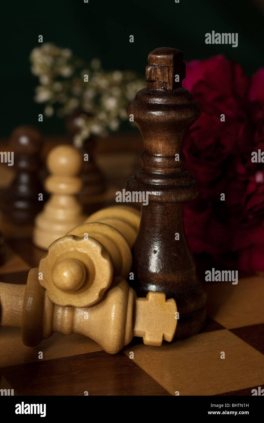 Fallen chess pieces - Stock Image
