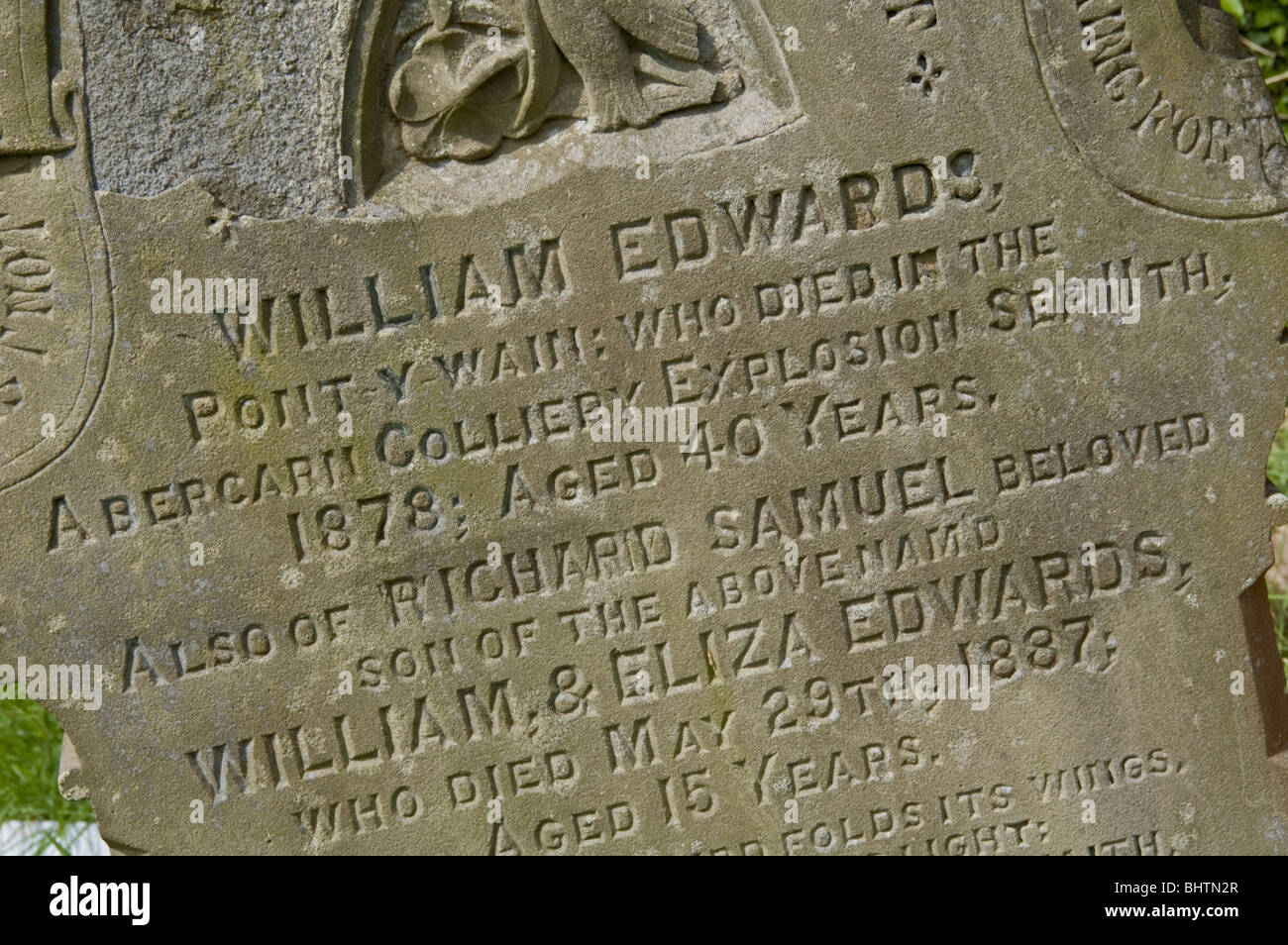 Gravestone of miner aged 40 killed in the Abercarn Colliery explosion 11th Sept 1878 Pontywaun South Wales Valleys - Stock Image
