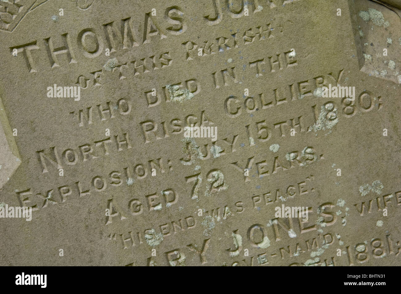 Gravestone of miner aged 72 killed in the North Risca Colliery explosion 15th July 1880 Pontywaun South Wales Valleys - Stock Image