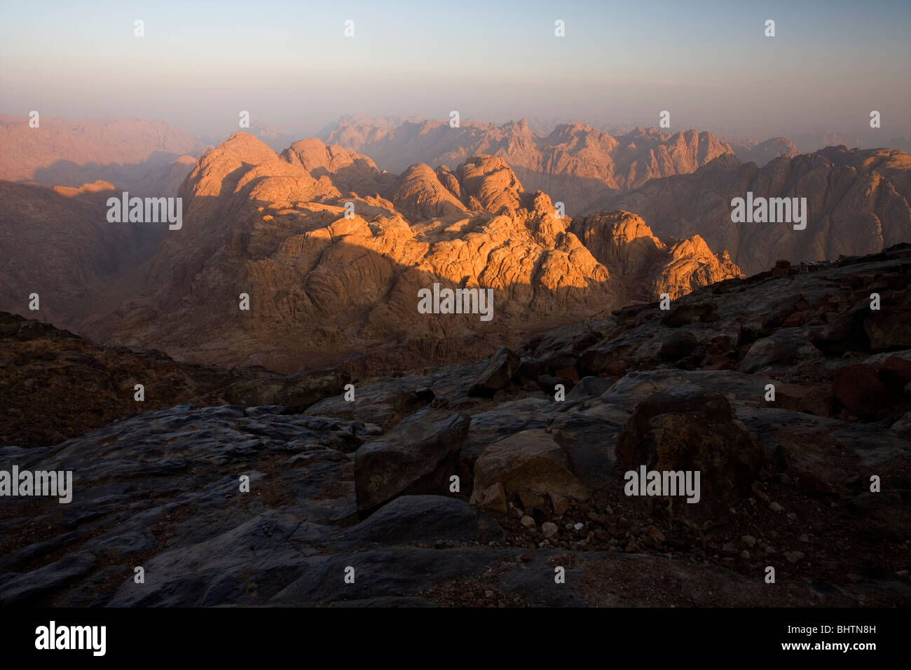 View from the summit of Mount Sinai at sunrise, Saint Katherine, Egypt. - Stock Image