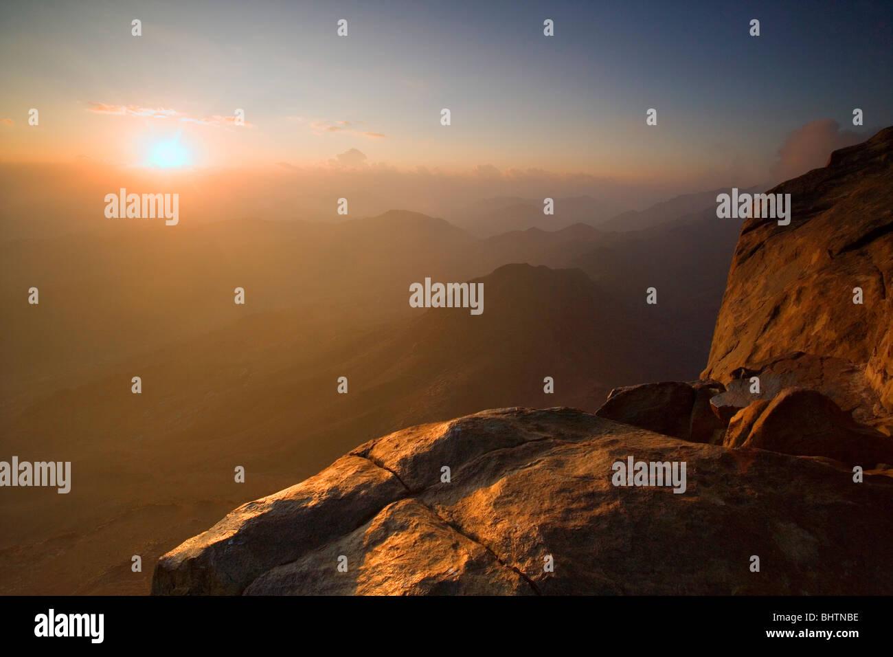 Sunrise viewed from the summit of Mount Sinai, Saint Katherine, Egypt. - Stock Image