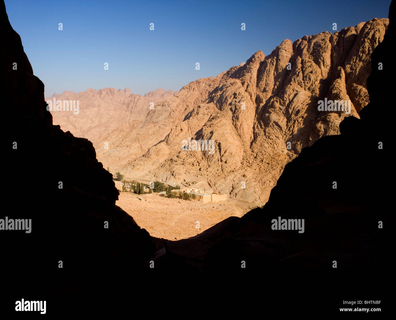 View of the St. Catherine Monastery from the trail to the summit of Mount Sinai, St.Katherine, Egypt. - Stock Image