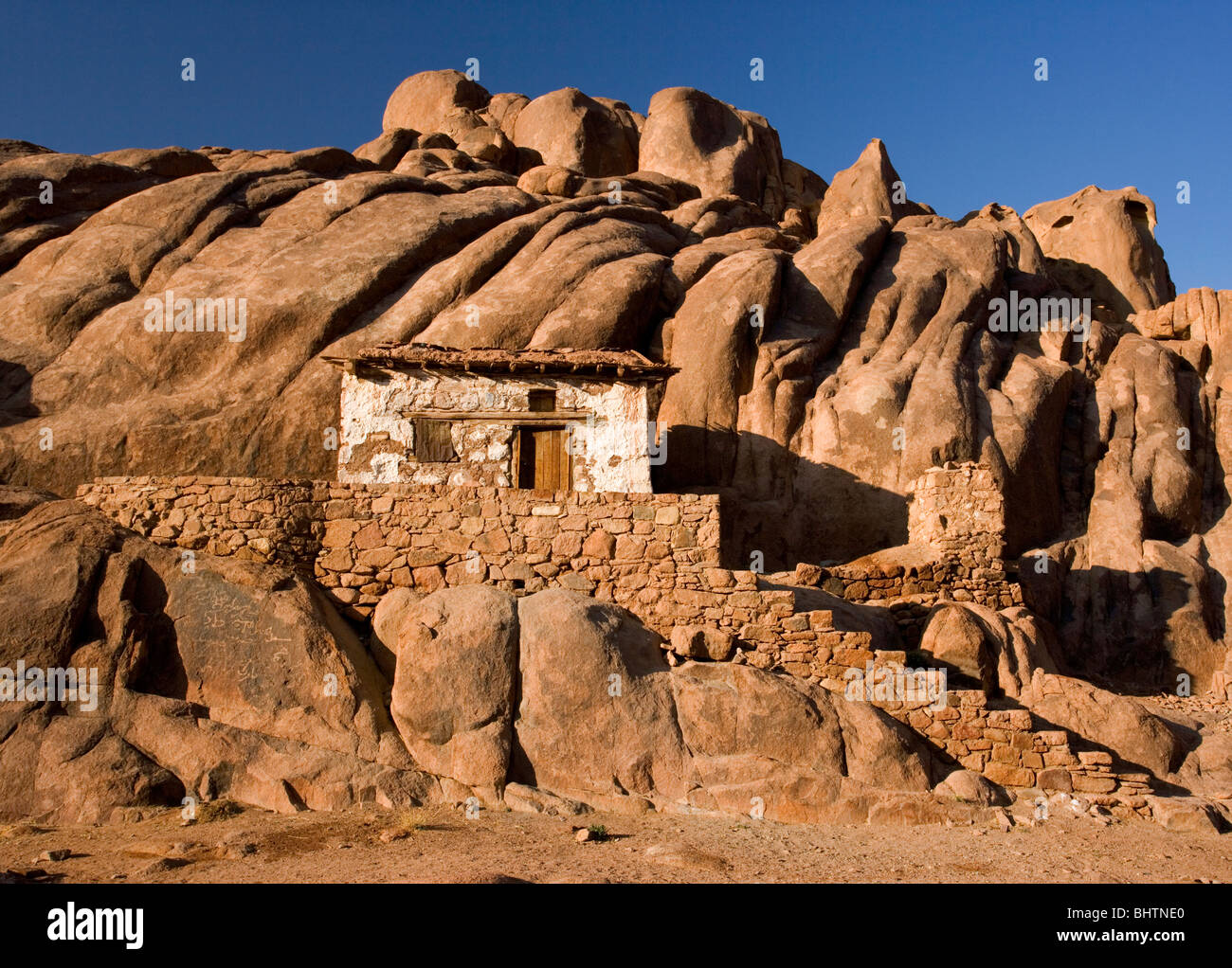 Chapel near the summit of Mount Sinai at sunrise, Saint Katherine, Egypt. - Stock Image