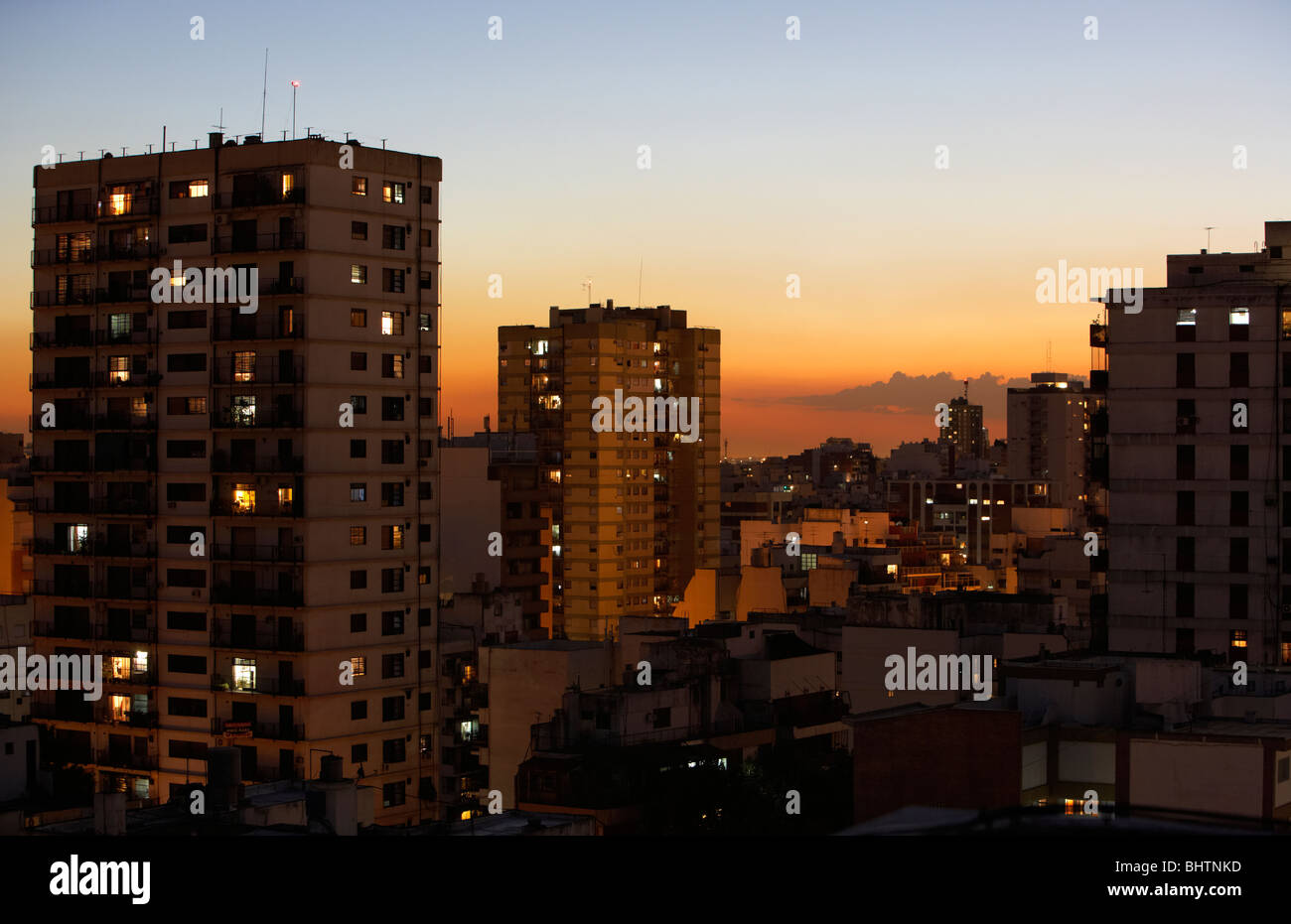 apartment rooftops in the evening buenos aires argentina - Stock Image