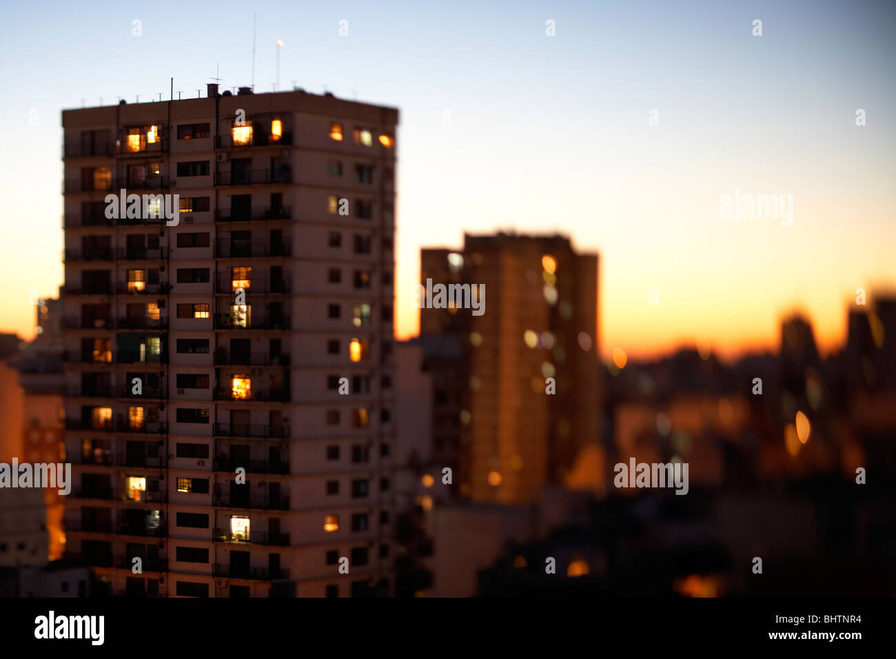 tower apartment block in the evening buenos aires argentina taken with tilt shift lens selective focus - Stock Image