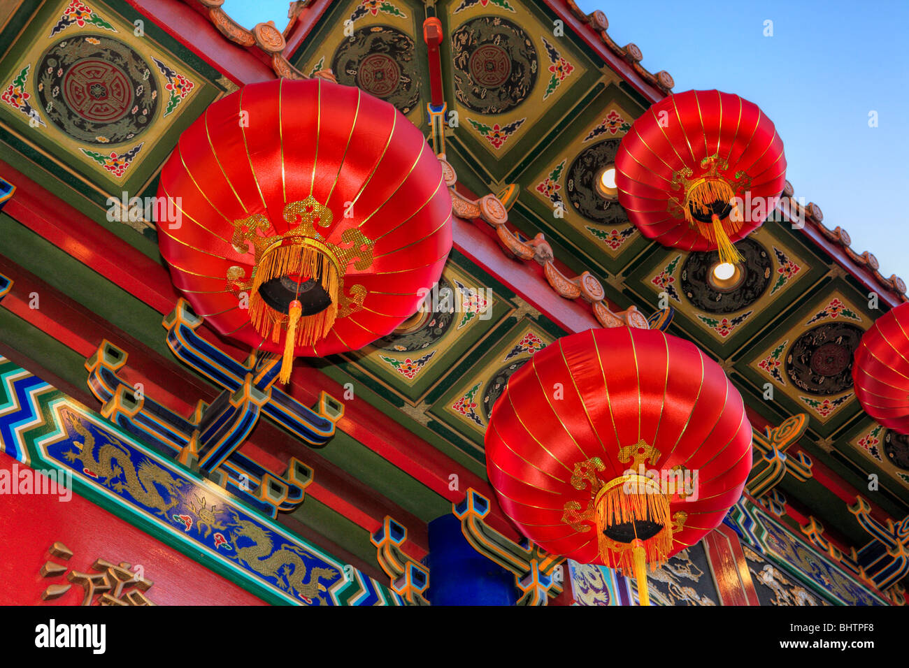 Victoria Chinatown entrance gate decorated for Year of the Tiger 2010 with lanterns-Victoria, British Columbia, - Stock Image