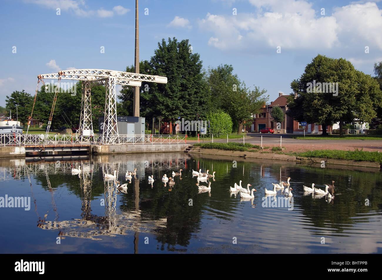 Canal du Centre, Bascule bridge, Hainaut Province, Belgium - Stock Image