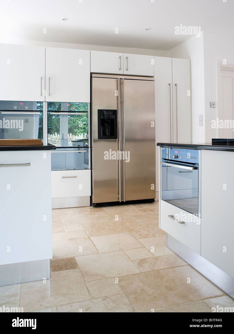 Stainless Steel American Style Fridge Freezer In Modern White