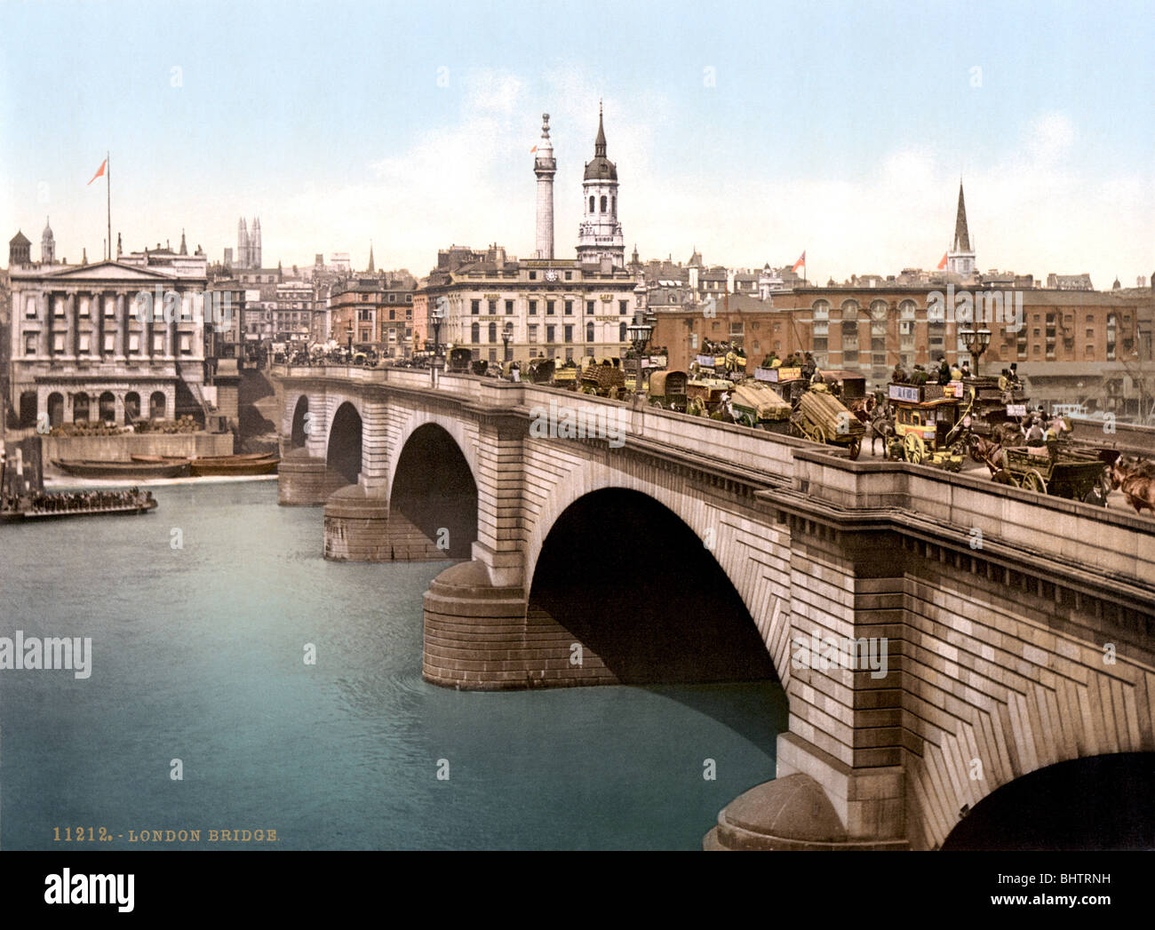 Photochrome print c1890s of the old London Bridge over the River Thames designed by engineer John Rennie and opened - Stock Image