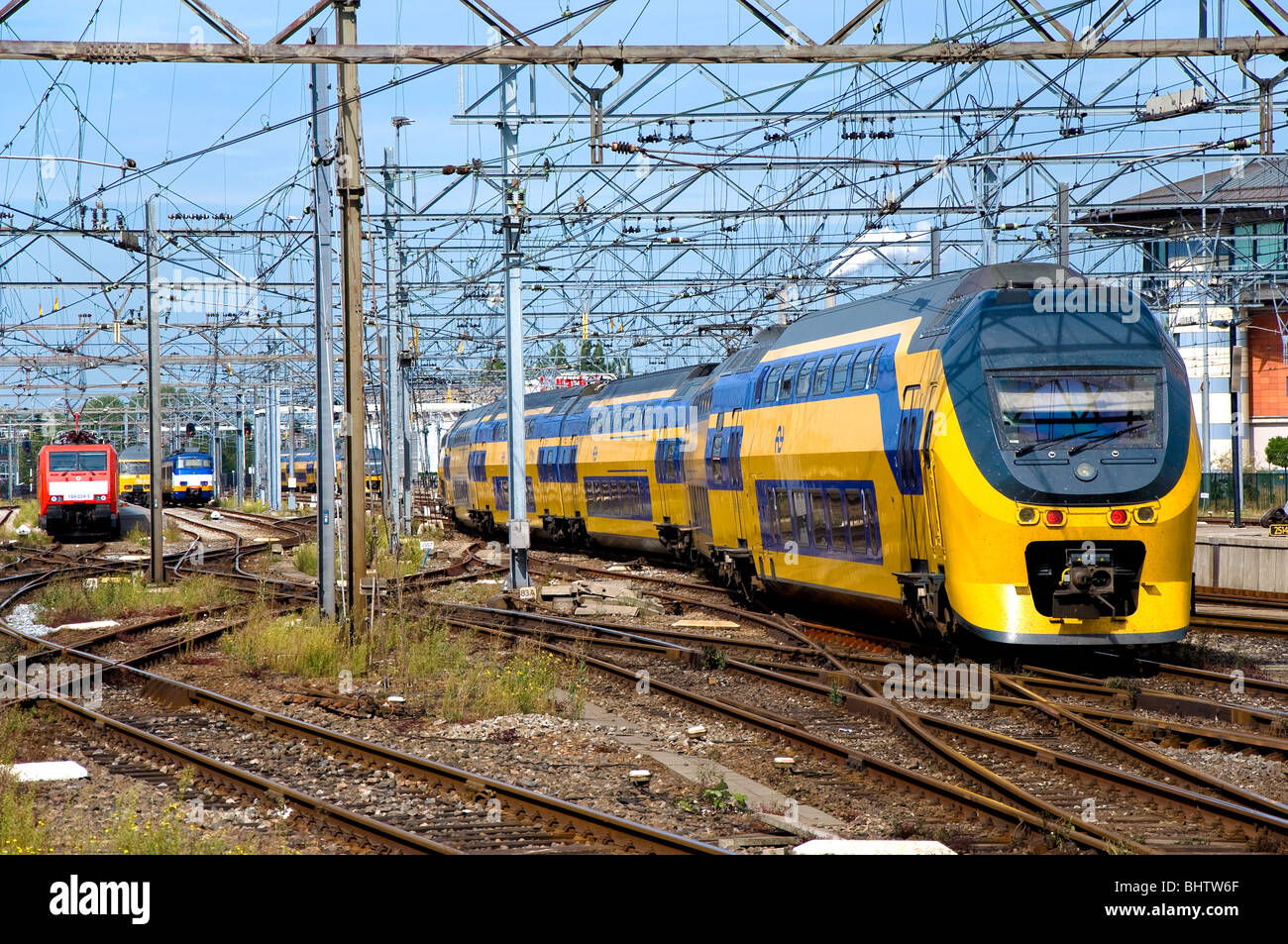 Trains, Amsterdam Centraal Train Station, Amsterdam, Holland - Stock Image