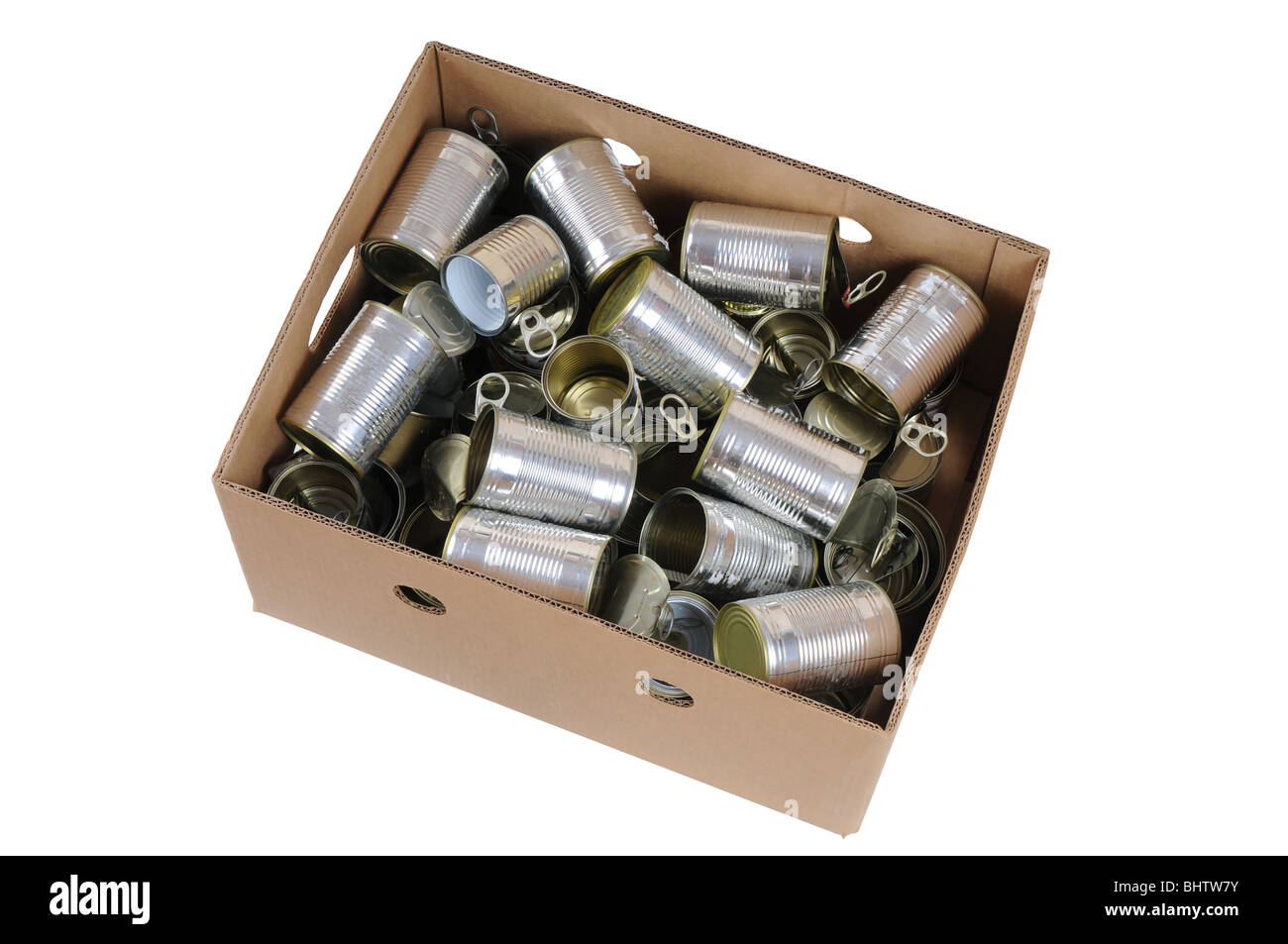 Paper box full of used cans ready for recycling. - Stock Image