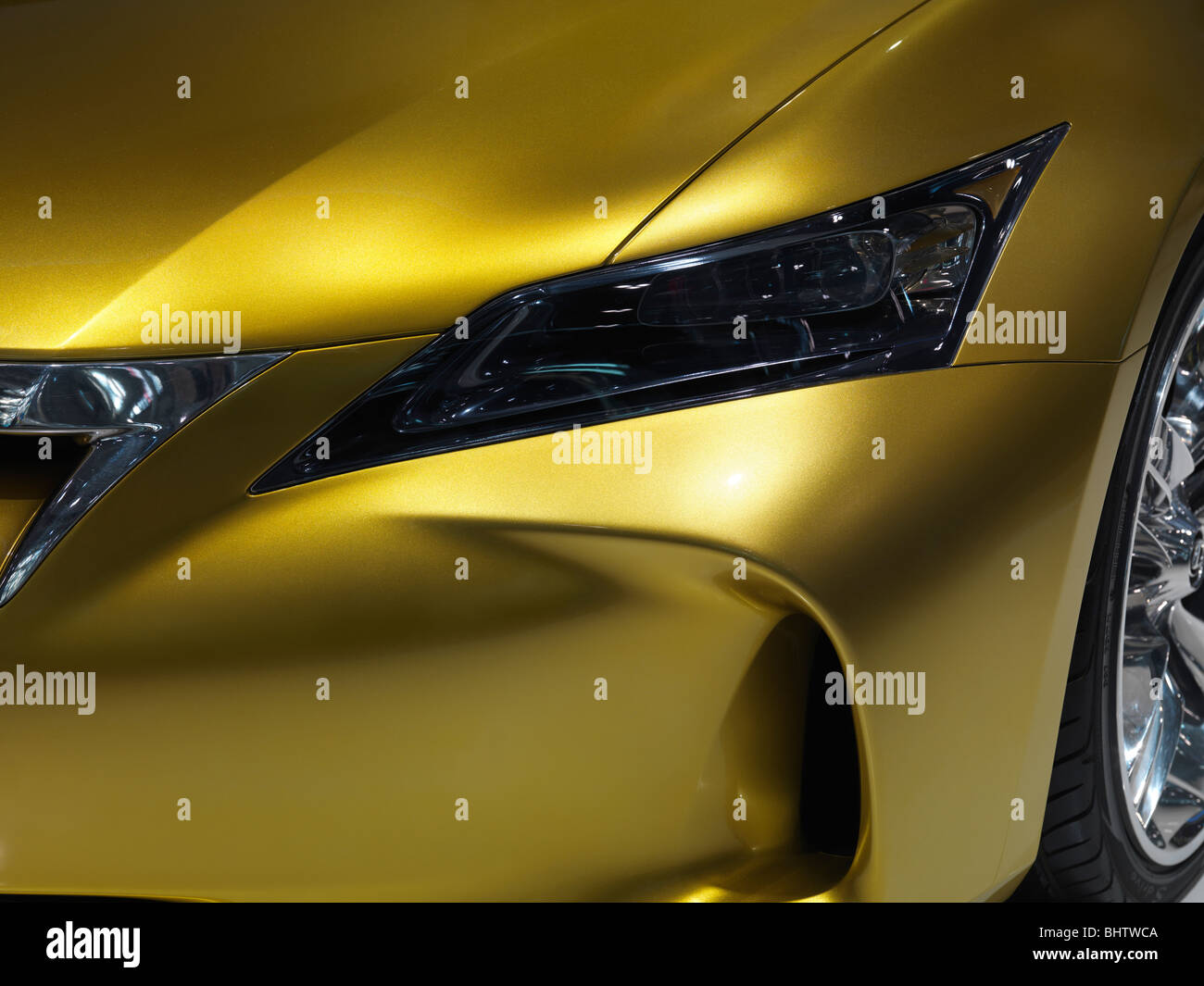 Closeup Of Exotic Gold Shiny Car Lexus LF Ch Hybrid Concept Car   Stock  Image