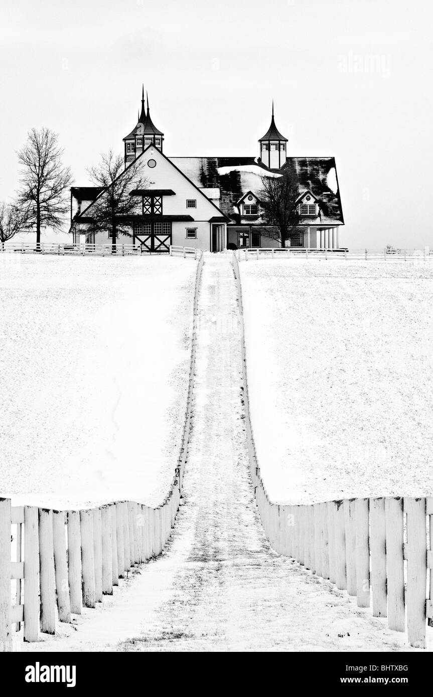 Snow Covered Manchester Horse Farm in Fayette County, Kentucky - Stock Image