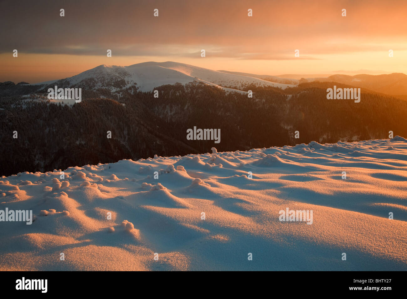Winter landscape in the evening, Fatras, Slovakia - Stock Image