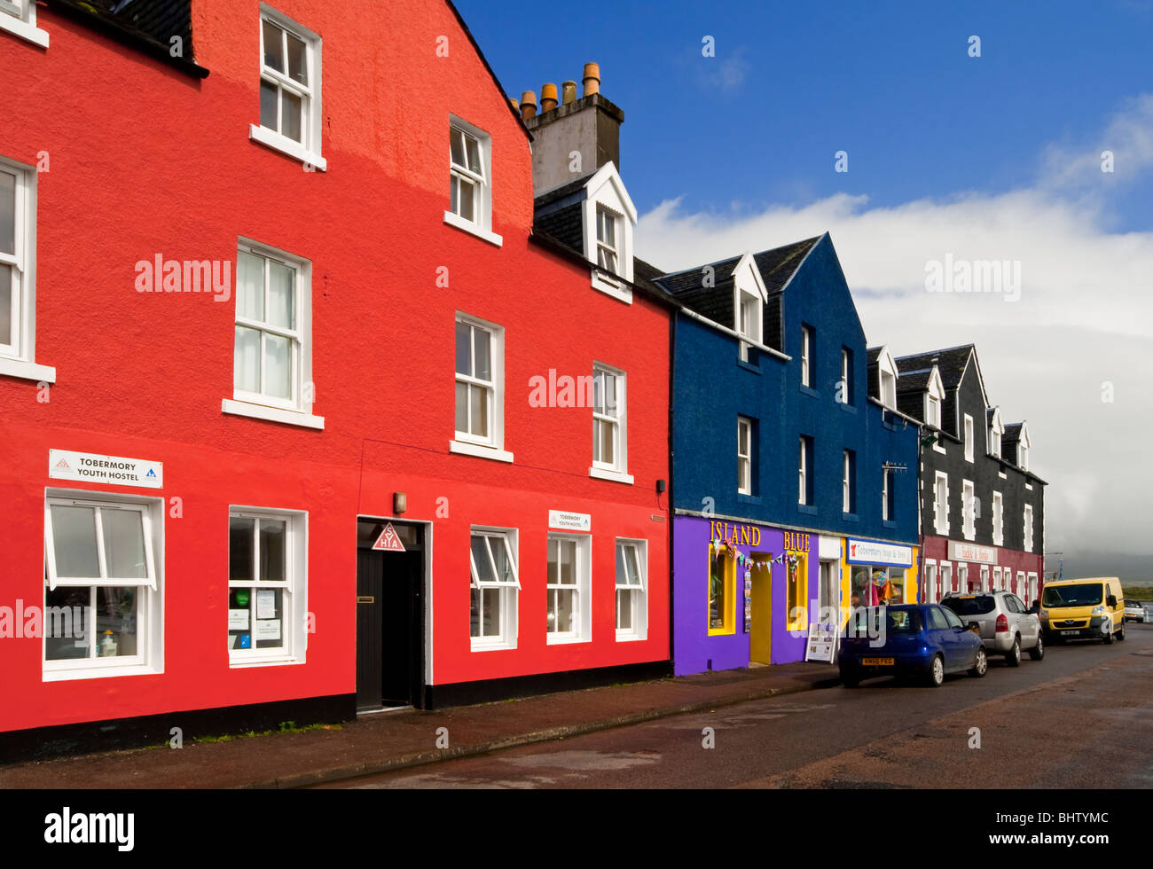 Brightly painted houses in the village of Tobermory on the Isle of Mull Inner Hebrides Scotland used as location - Stock Image