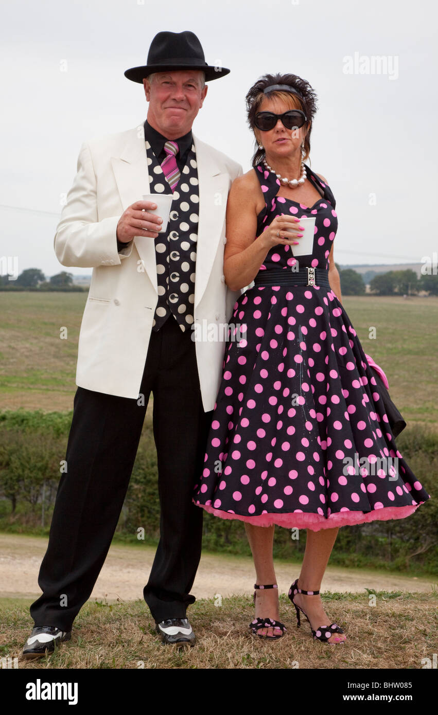 e729140a2 Couple Wearing Traditional 50's Clothes At The Good wood Revival Sussex UK  Europe - Stock Image