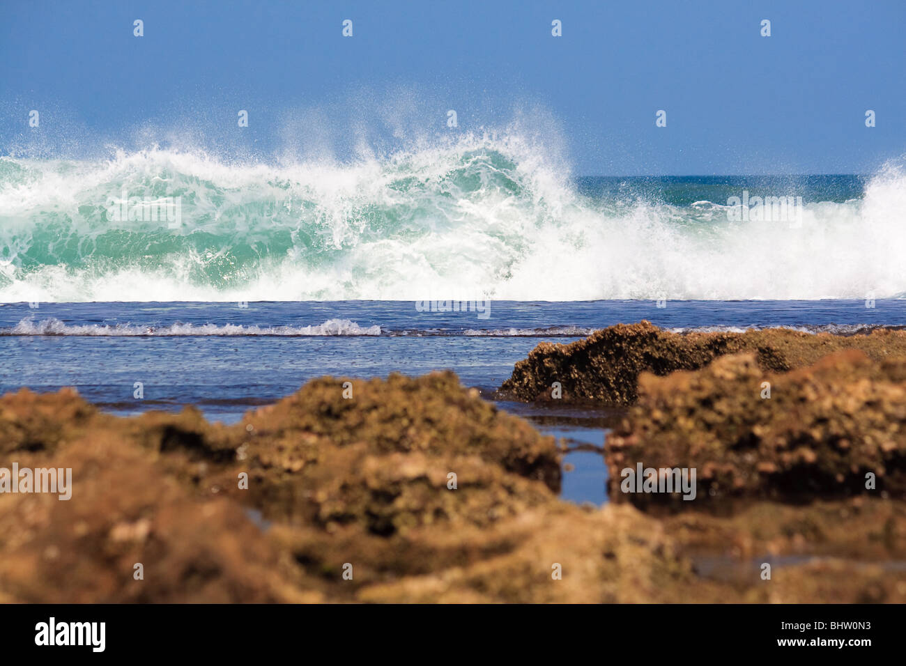 Africa Atlantic Beach Sky Mozambique Sea Xai-Xai - Stock Image