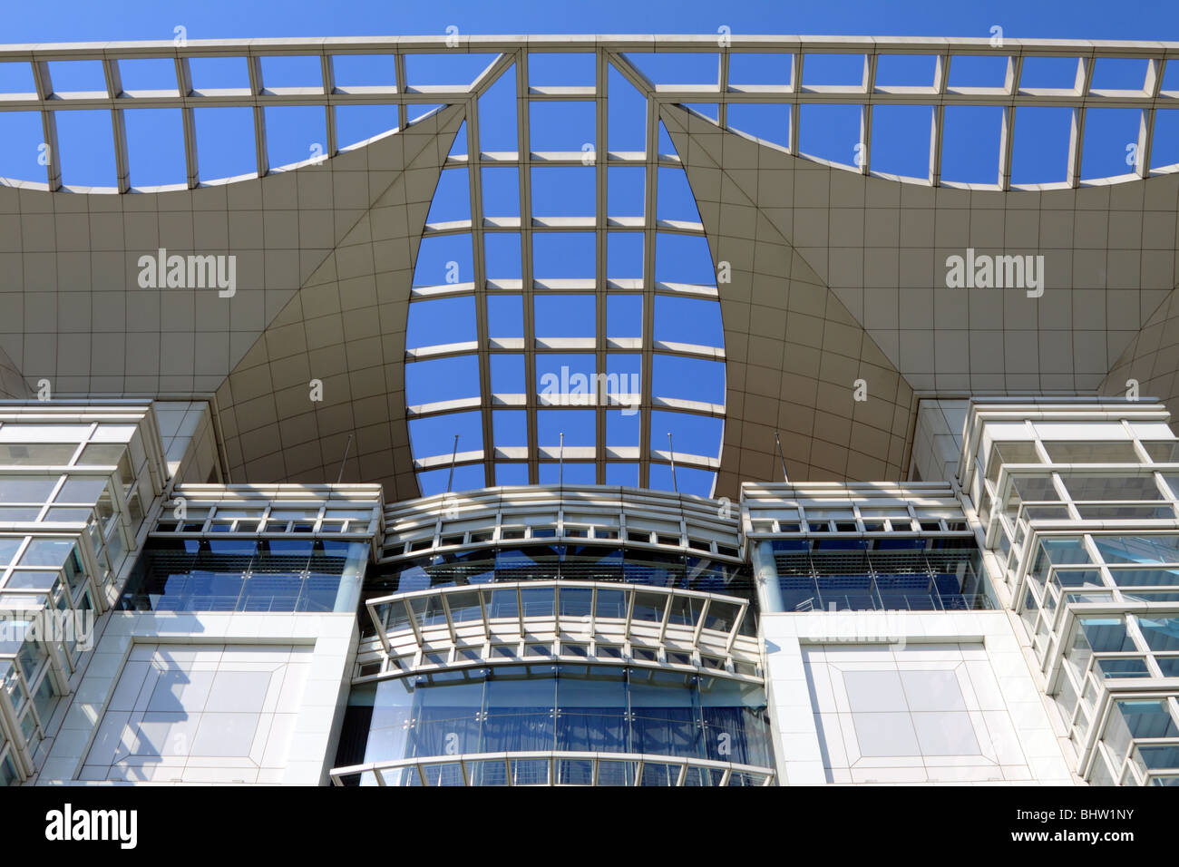 Shanghai Urban Planning Exhibition Hall upper facade - Stock Image