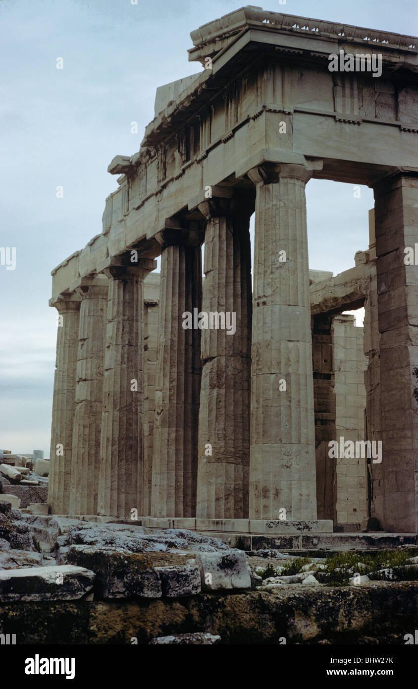 Doric columns of the Propylaea, Acropolis, Athens, Greece 680212 008 Stock Photo