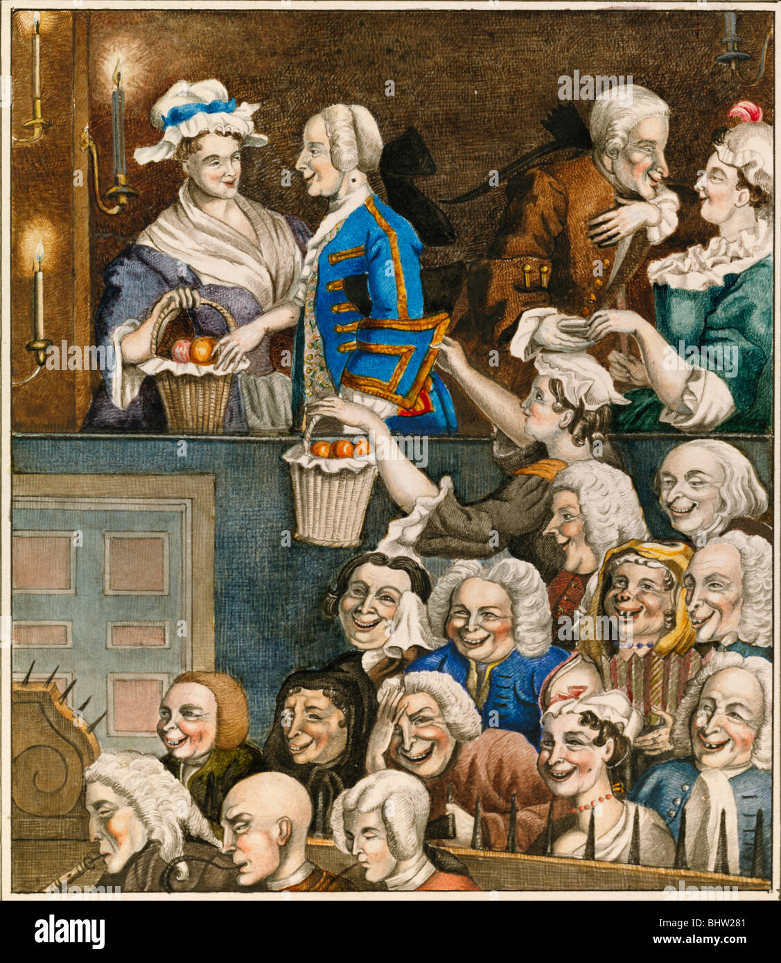 The Laughing Audience, by Edward Matthew Ward. England, 19th century - Stock Image