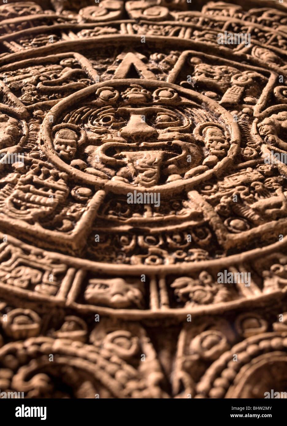 Aztec Mayan Calendar detail - Stock Image