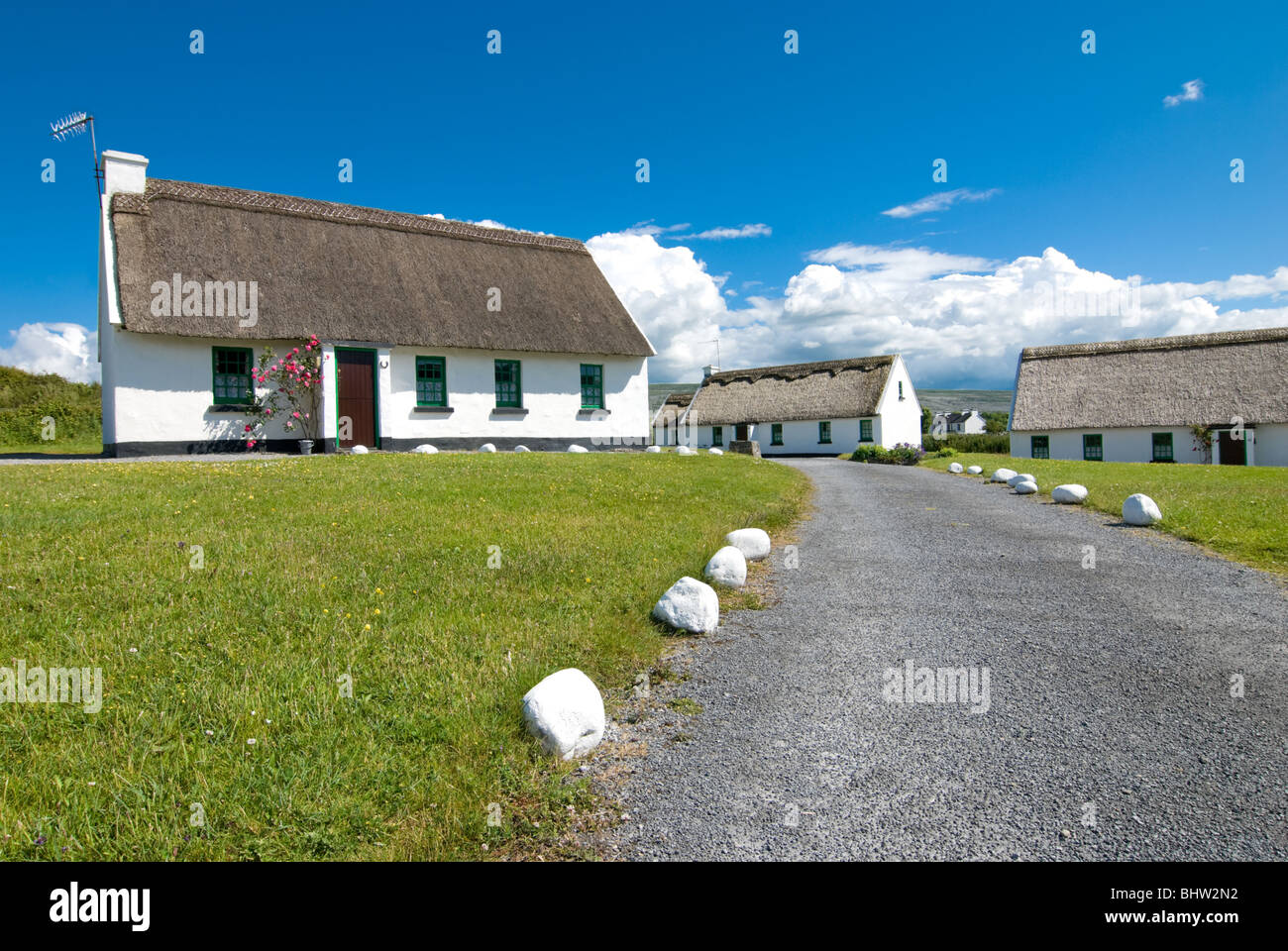 Traditional Irish Cottages in the Burren. - Stock Image