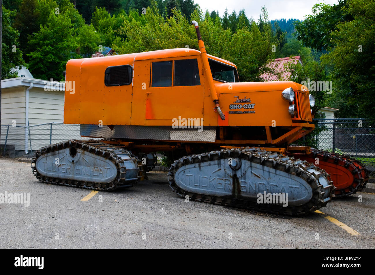 A (snow cat) (Sno-Cat) winter transport vehicle in Wallace Idaho - Stock Image