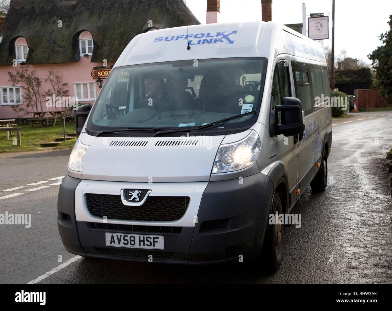 On demand community Suffolk Link rural transport minibus bus service Shottisham Suffolk England - Stock Image