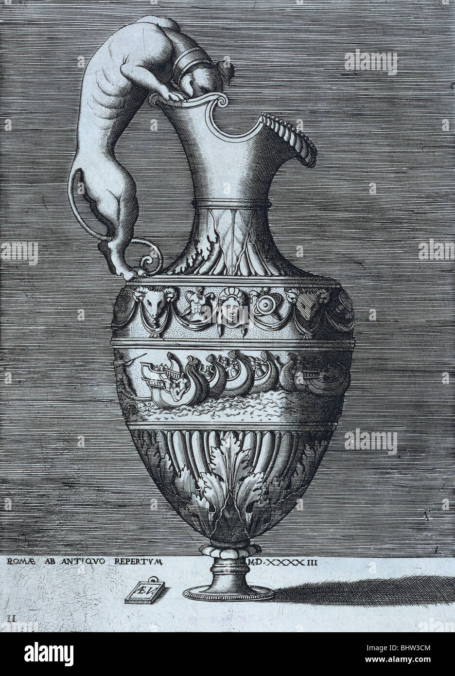 Ewer, engraving by Enea Vico. Rome, Italy, late 16th century Stock Photo