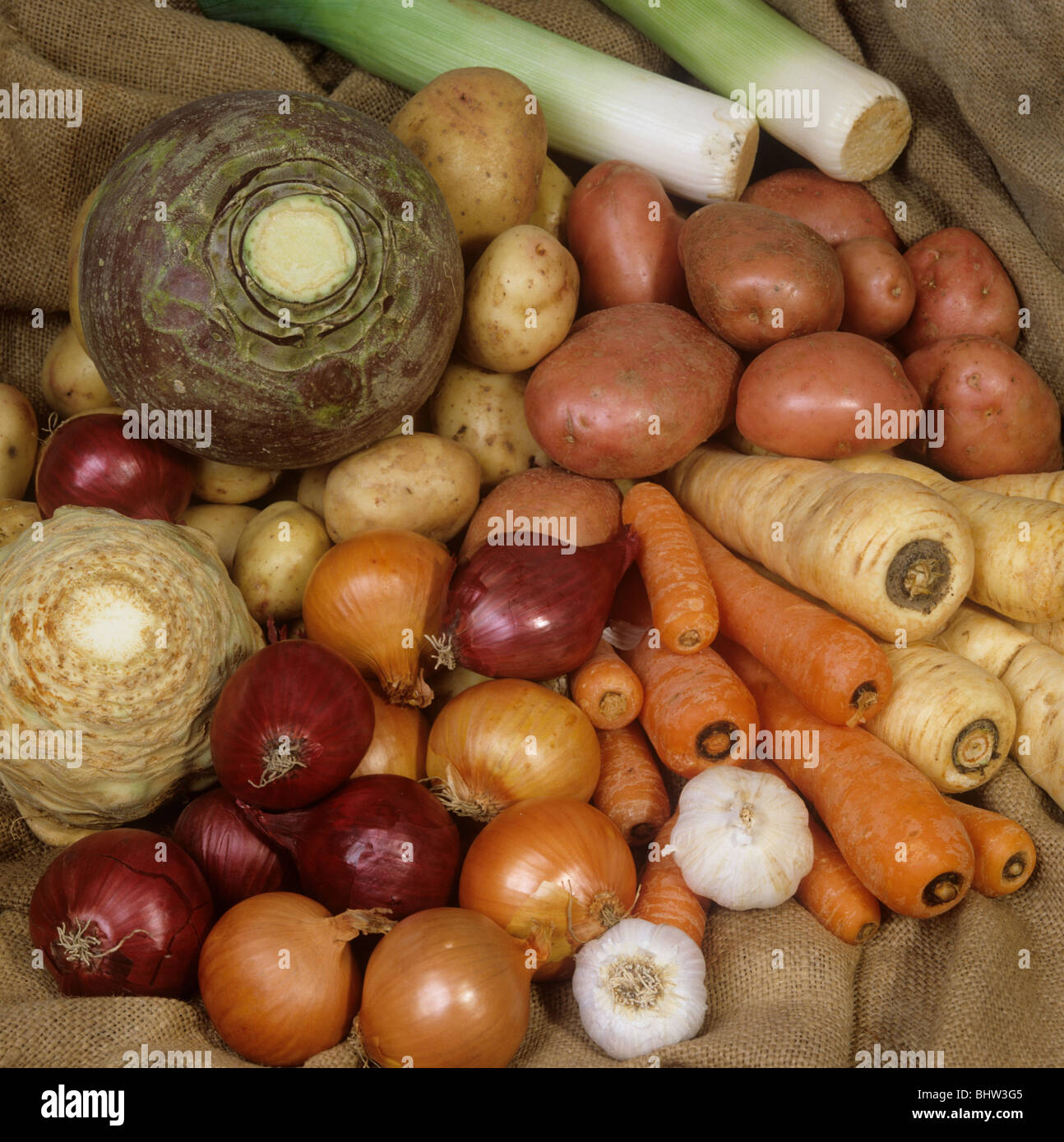 A selection of root vegetables bought in the supermarket Stock Photo