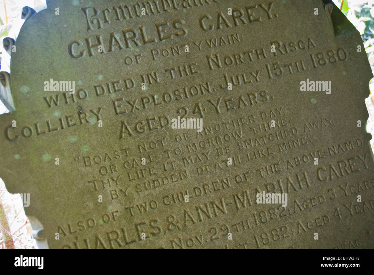 Gravestone of miner aged 24 killed in the North Risca Colliery explosion 15th July 1880 Cwmcarn South Wales Valleys - Stock Image
