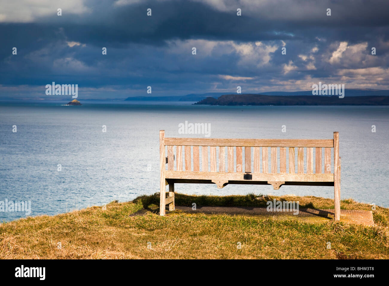 Mother Ivey's bay; bench seat; looking towards The Rumps - Stock Image