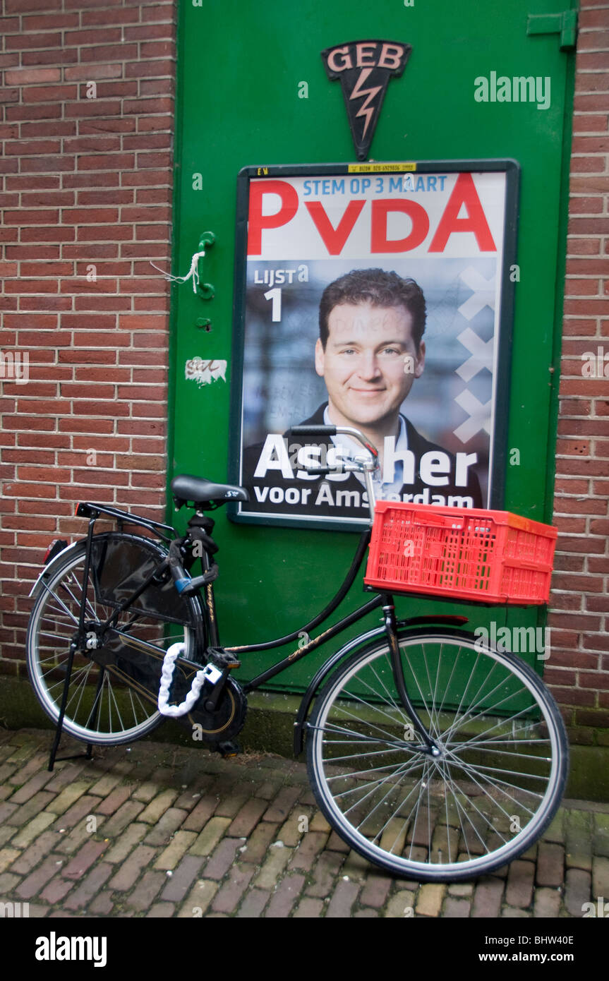 PvdA Assher Amsterdam Netherlands Holland politician politic polls election - Stock Image