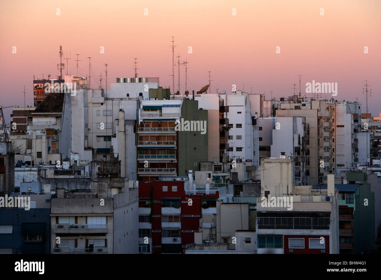 dense apartment block rooftops in the evening buenos aires argentina - Stock Image