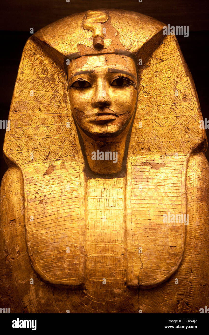 Gold leaf coffin of Egyptian Pharaoh believed to be Sekhemre Upmaat from the vault of Osiris on display at Musee - Stock Image