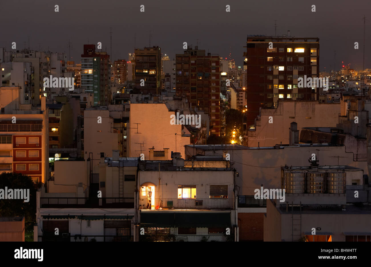 densely packed apartment buildings and city rooftops in the evening buenos aires argentina - Stock Image