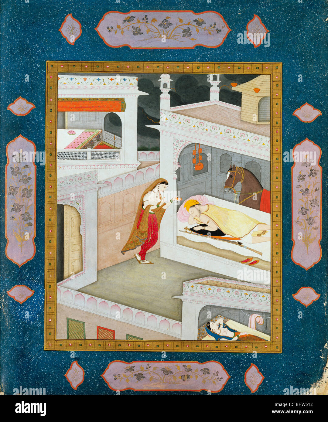 Lady standing by her sleeping lover, by The School of Sajnu. Mandi, Punjab Hills, India, early 19th century - Stock Image